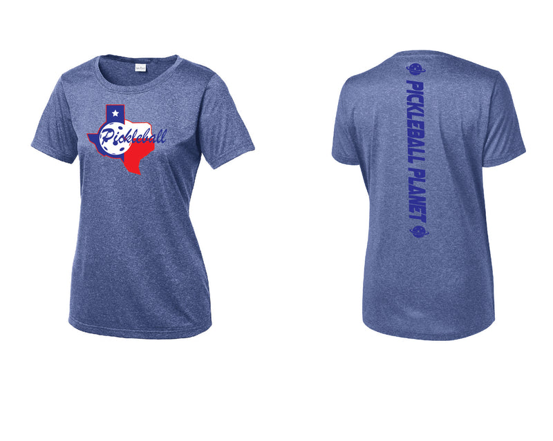 Ladies Short Sleeve Scoop Neck Heather Royal Blue Texas State