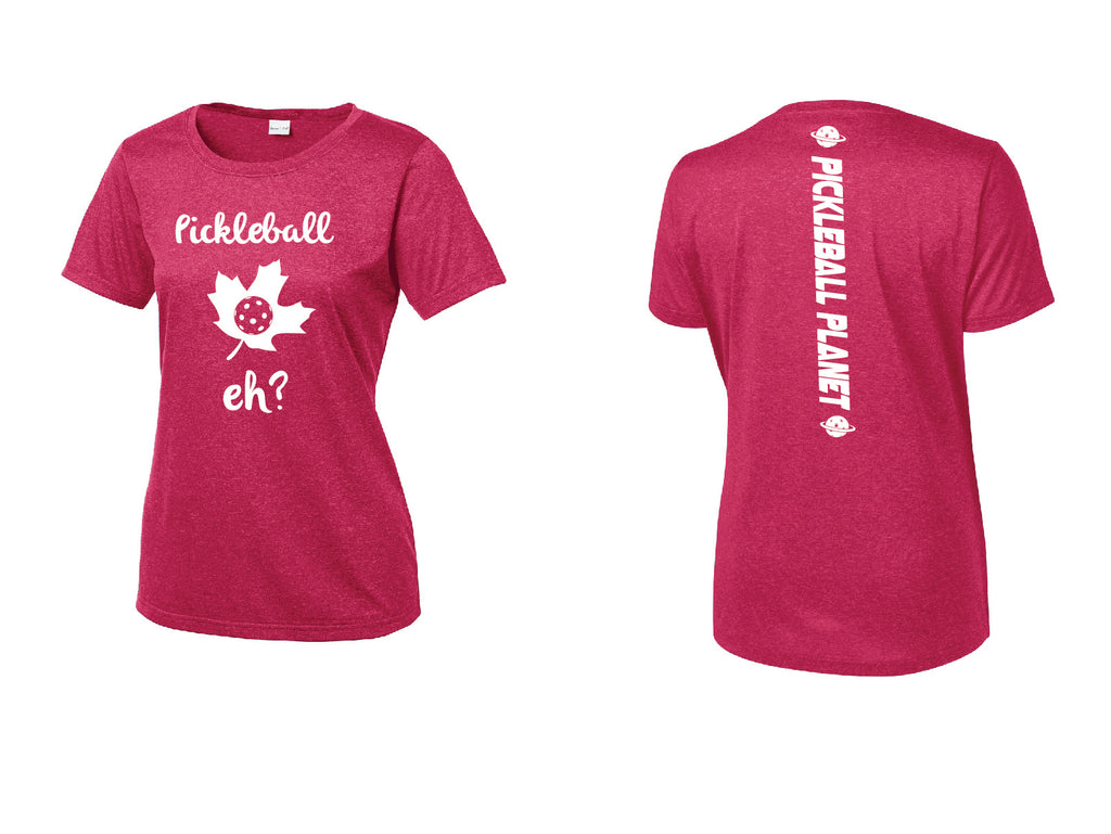 Ladies Short Sleeve Scoop Neck Heather Pink Raspberry Pickleball Eh