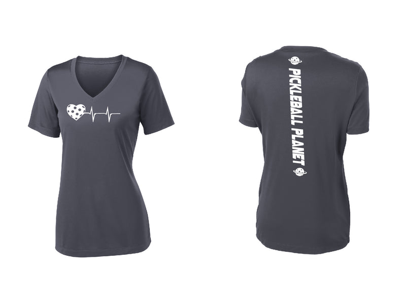 Ladies Short Sleeve V-Neck Iron Gray Heartbeat