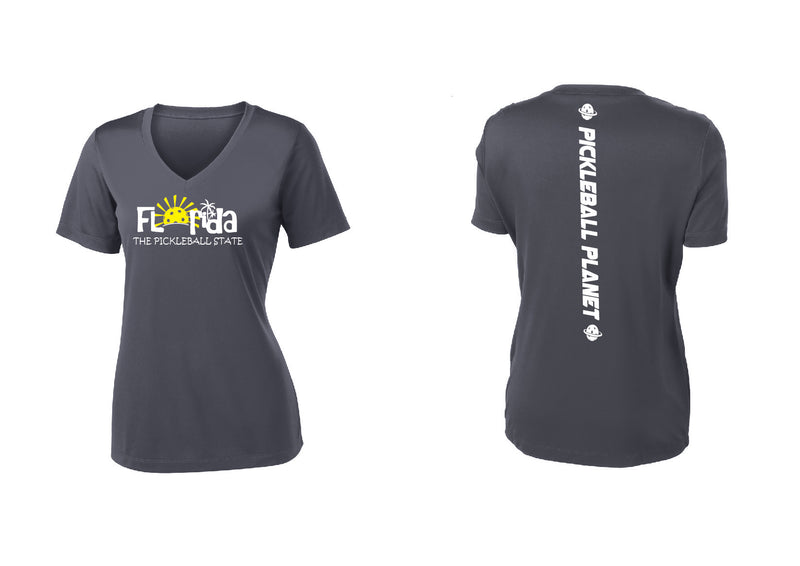 Ladies Short Sleeve Iron Gray V Neck Florida