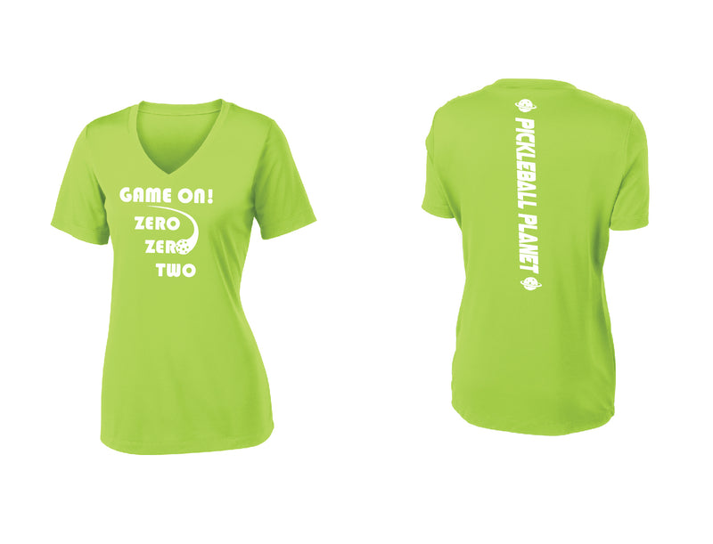 Ladies Short Sleeve V Neck Lime Shock Green Game On
