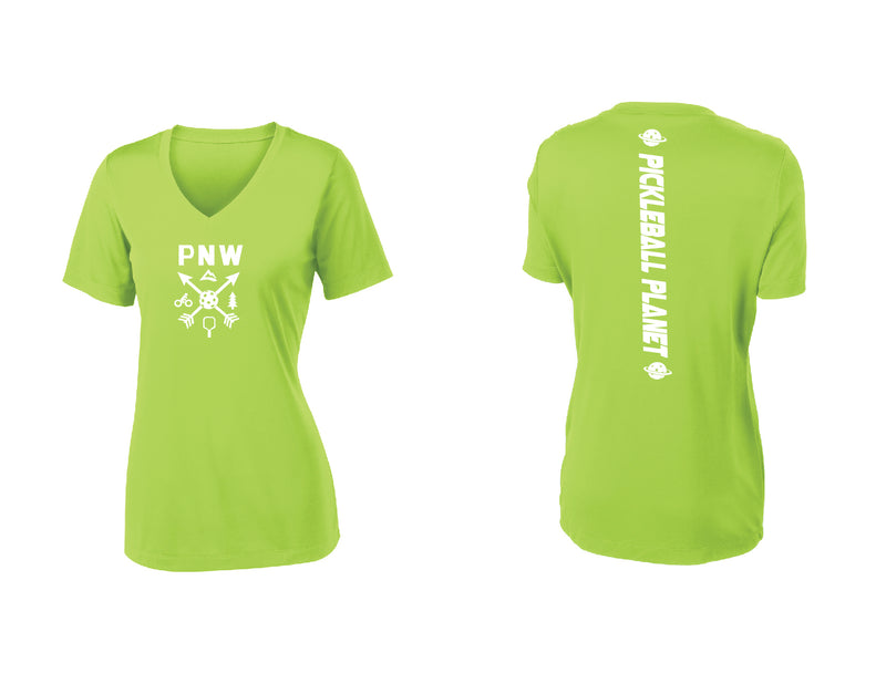 Ladies Short Sleeve Lime Shock Green PNW