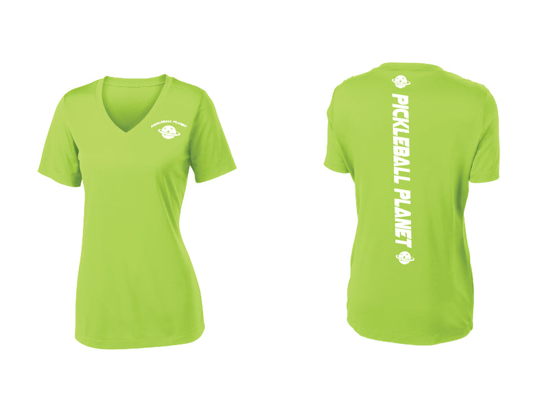Ladies Short Sleeve Lime Shock Green V Neck Pickleball Planet