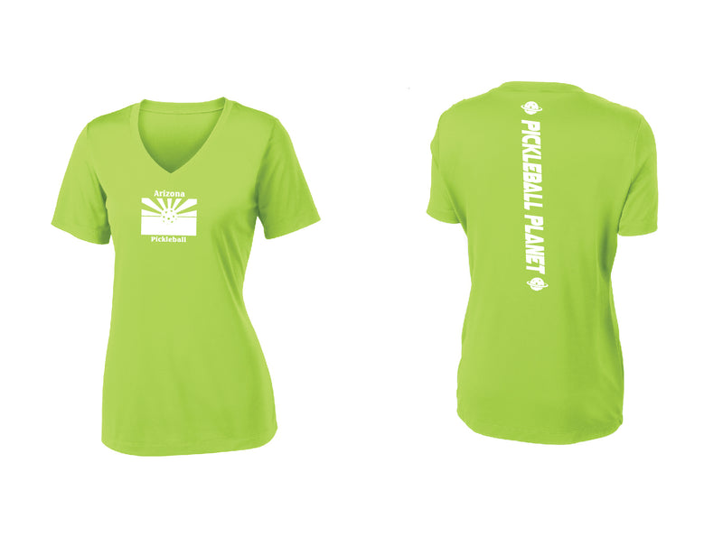 Ladies Short Sleeve Lime Shock Green V Neck Arizona Flag