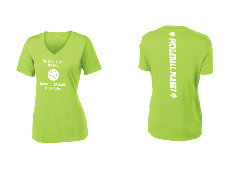 Ladies Short Sleeve Lime Shock Green V-Neck Know Pickleball