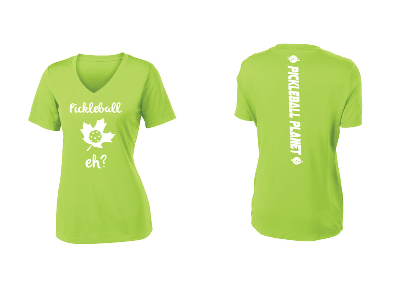 Ladies Short Sleeve V Neck Lime Shock Green Pickleball Eh