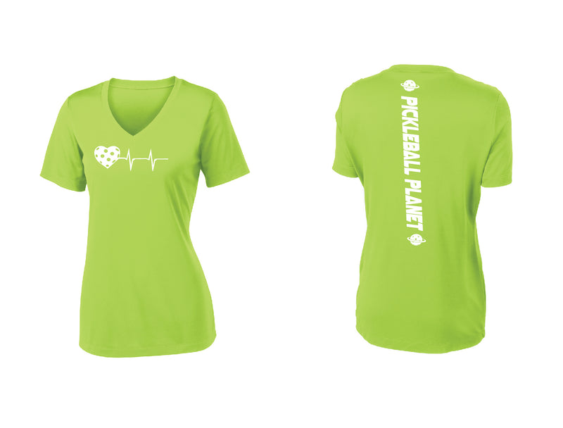 Ladies Short Sleeve V-Neck Lime Shock Green Heartbeat