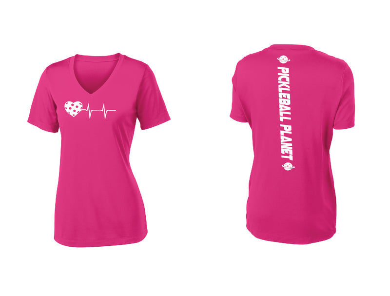 Ladies Short Sleeve V-Neck Pink Raspberry Heartbeat