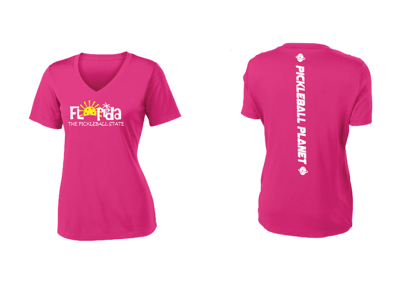 Ladies Short Sleeve Pink Raspberry V Neck Florida