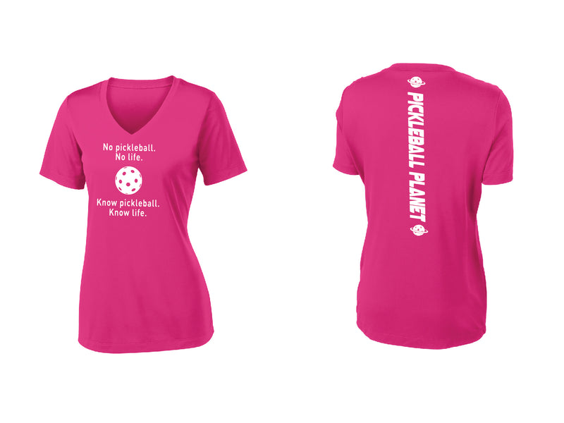 Ladies Short Sleeve Pink Raspberry V-Neck Know Pickleball