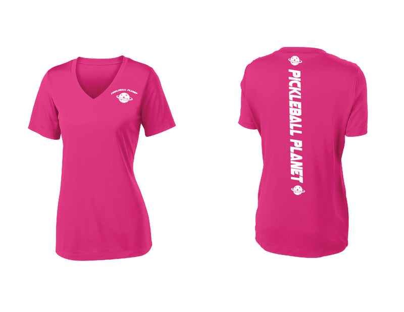 Ladies Short Sleeve Pink Raspberry V Neck Pickleball Planet
