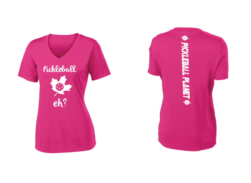 Ladies Short Sleeve V Neck Pink Raspberry Pickleball Eh