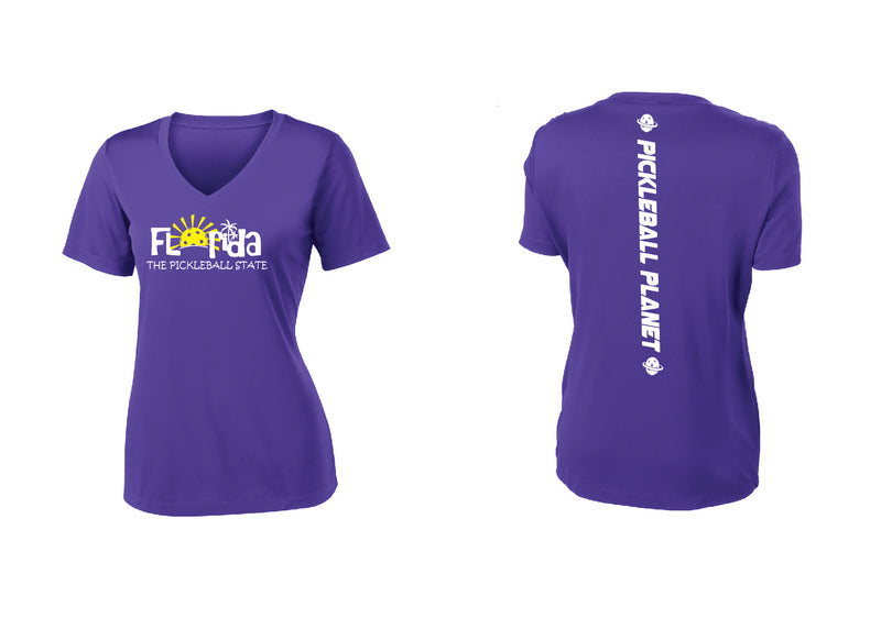 Ladies Short Sleeve Purple V Neck Florida