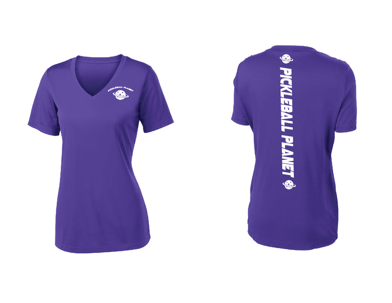 Ladies Short Sleeve Purple V Neck Pickleball Planet