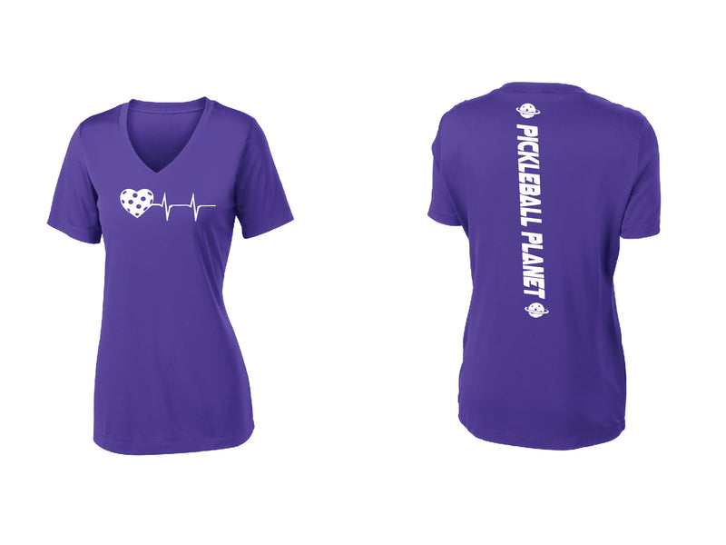 Ladies Short Sleeve V-Neck Purple Heartbeat