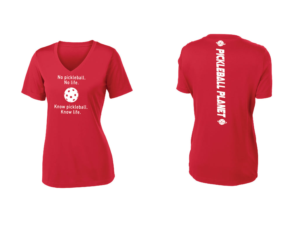 Ladies Short Sleeve Red V-Neck Know Pickleball