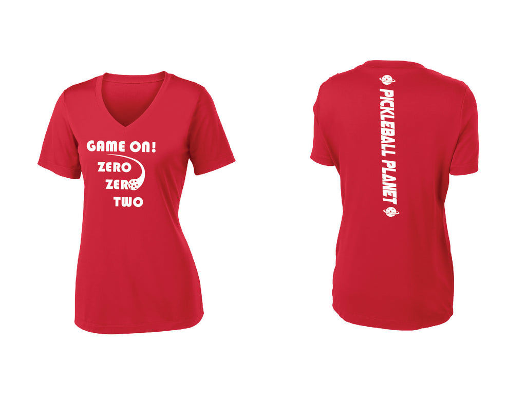 Ladies Short Sleeve V Neck Red Game On