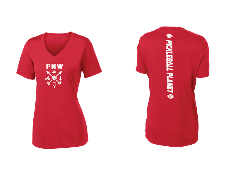 Ladies Short Sleeve Red PNW