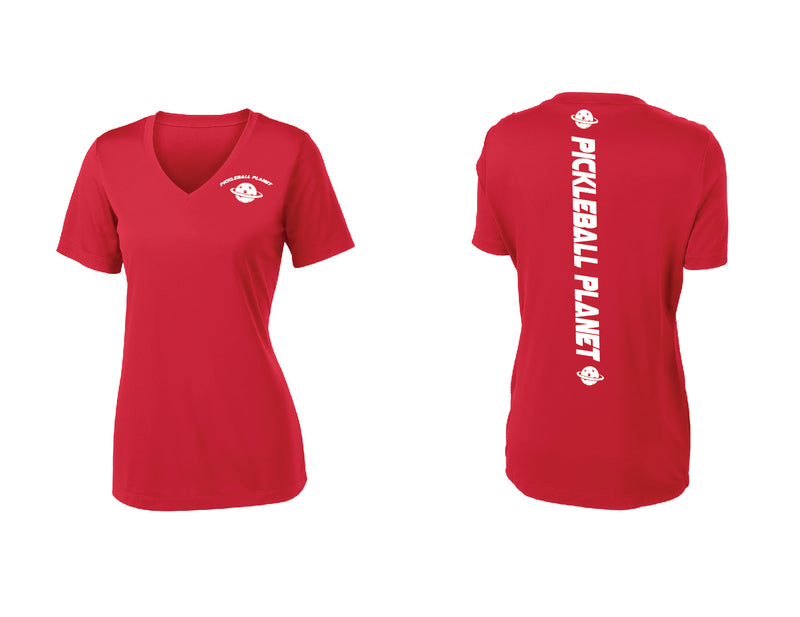 Ladies Short Sleeve Red V Neck Pickleball Planet