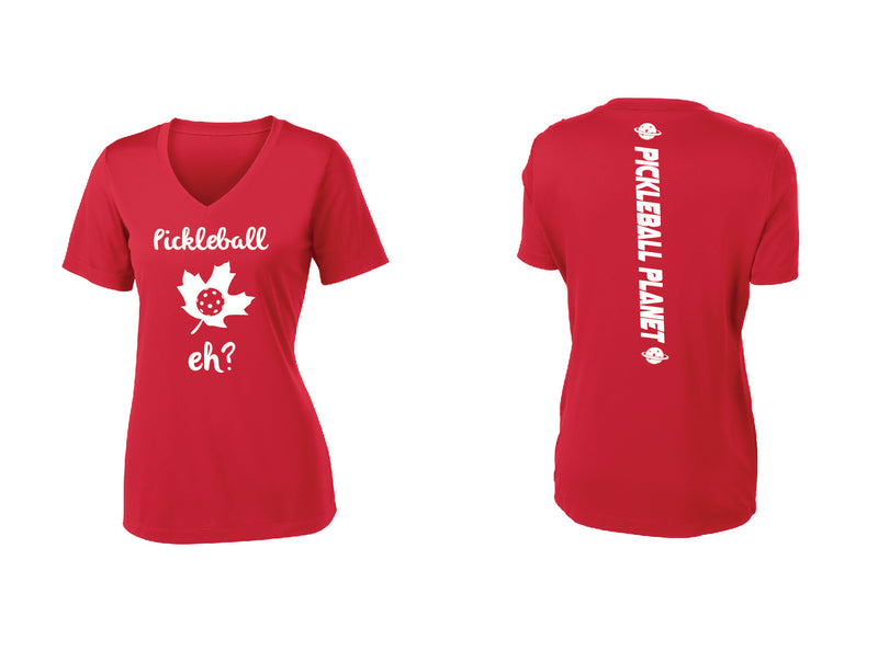 Ladies Short Sleeve V Neck Red Pickleball Eh
