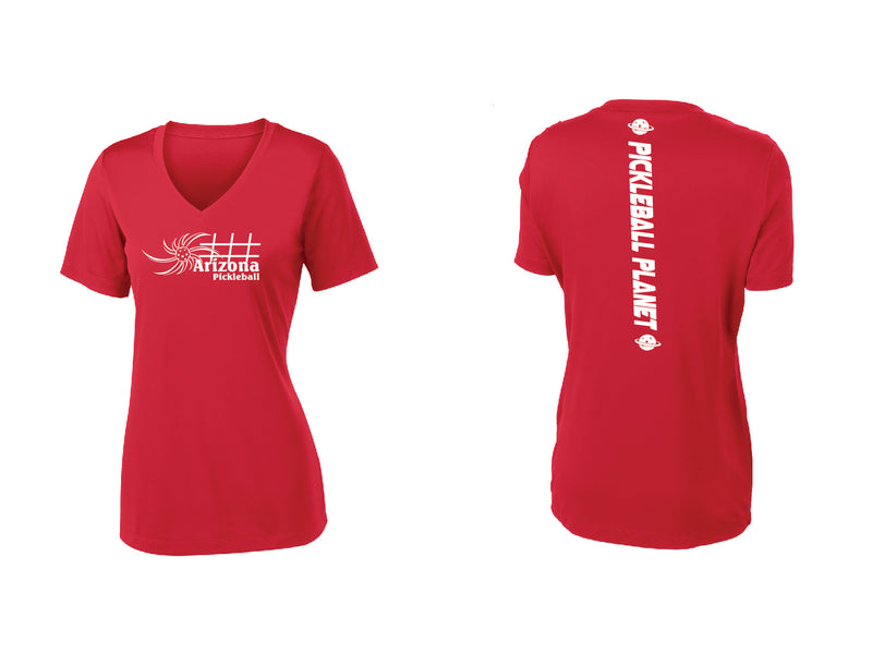 Ladies Short Sleeve V Neck Red Arizona Sun