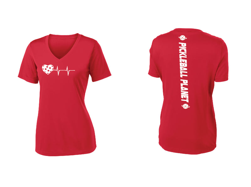 Ladies Short Sleeve V-Neck Red Heartbeat