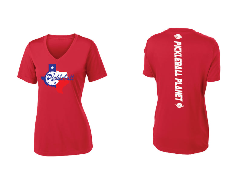 Ladies Short Sleeve Red V Neck Texas State