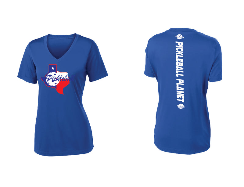 Ladies Short Sleeve Royal Blue V Neck Texas State