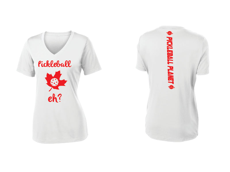 Ladies Short Sleeve V Neck White Pickleball Eh