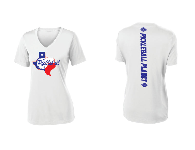 Ladies Short Sleeve White V Neck Texas State