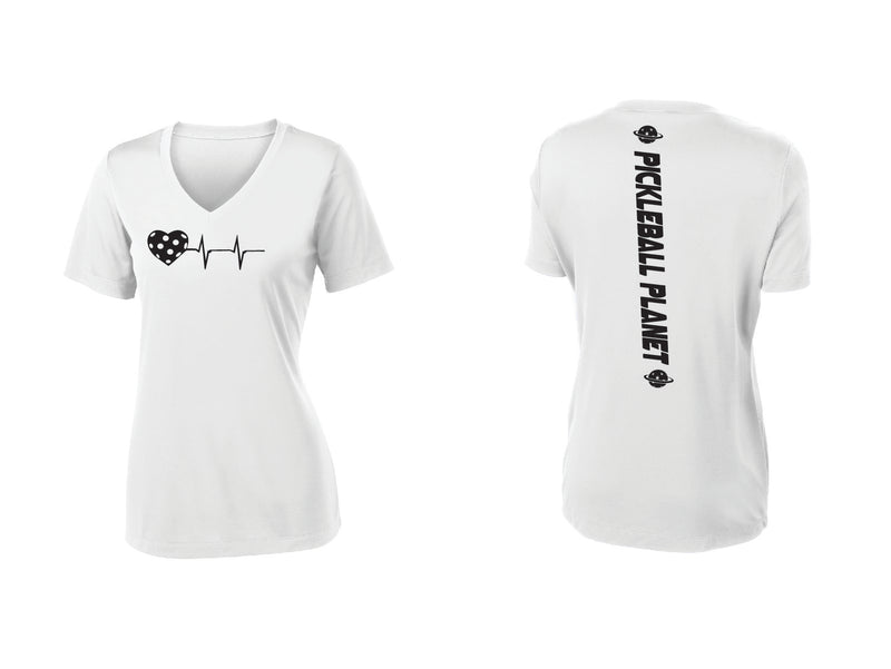 Ladies Short Sleeve V-Neck White Heartbeat