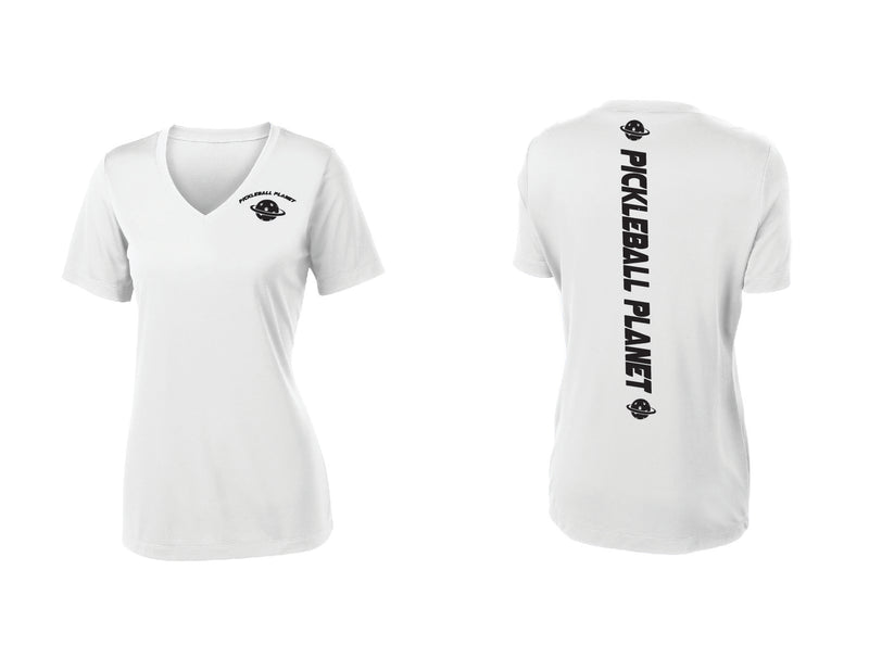 Ladies Short Sleeve White V Neck Pickleball Planet