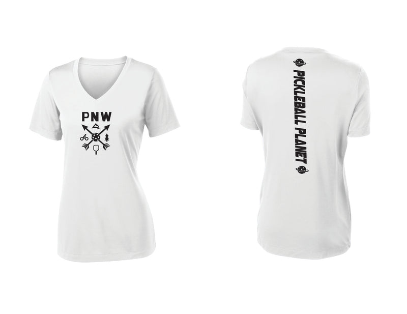 Ladies Short Sleeve White PNW