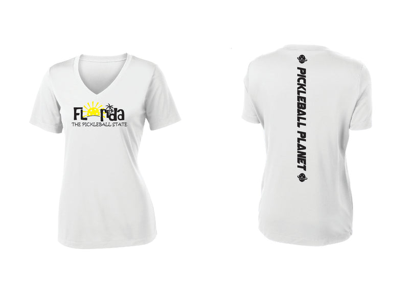Ladies Short Sleeve White V Neck Florida
