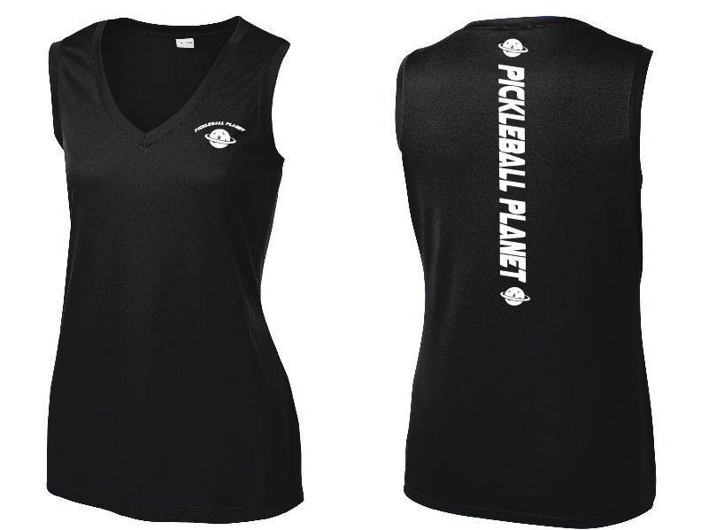 Ladies Sleeveless V Neck Tank Black Pickleball Planet