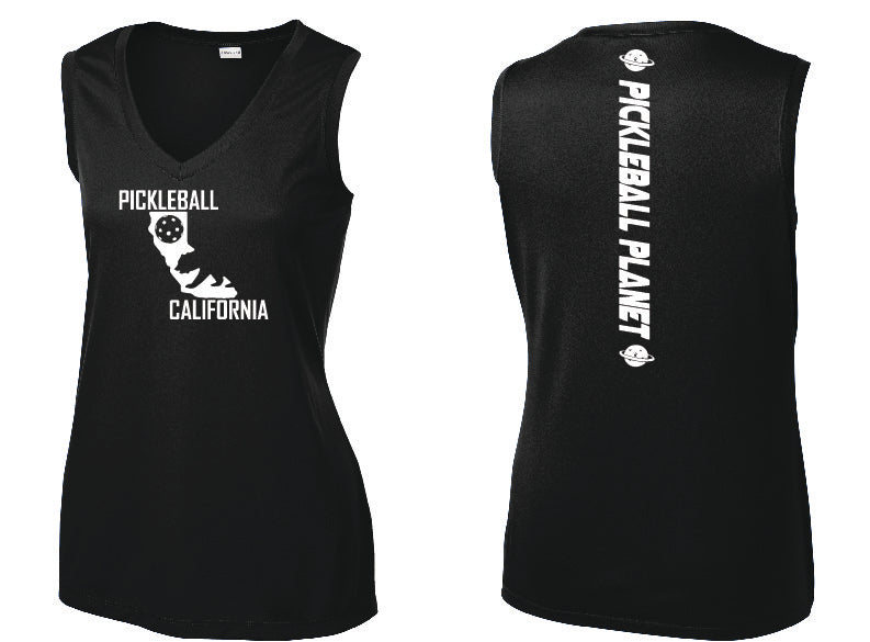 Ladies Sleeveless V-Neck Black California Bear