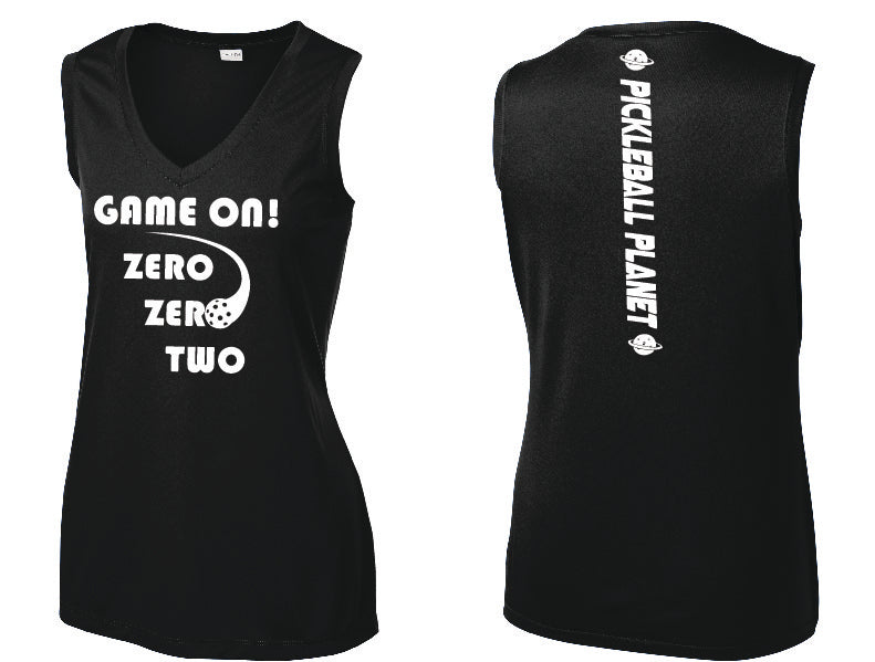 Ladies Sleeveless V Neck Tank Black Game On