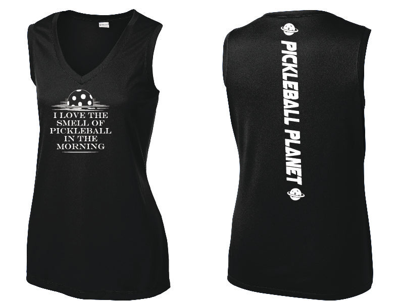 Ladies Sleeveless V Neck Tank Black I Love the Smell of Pickleball