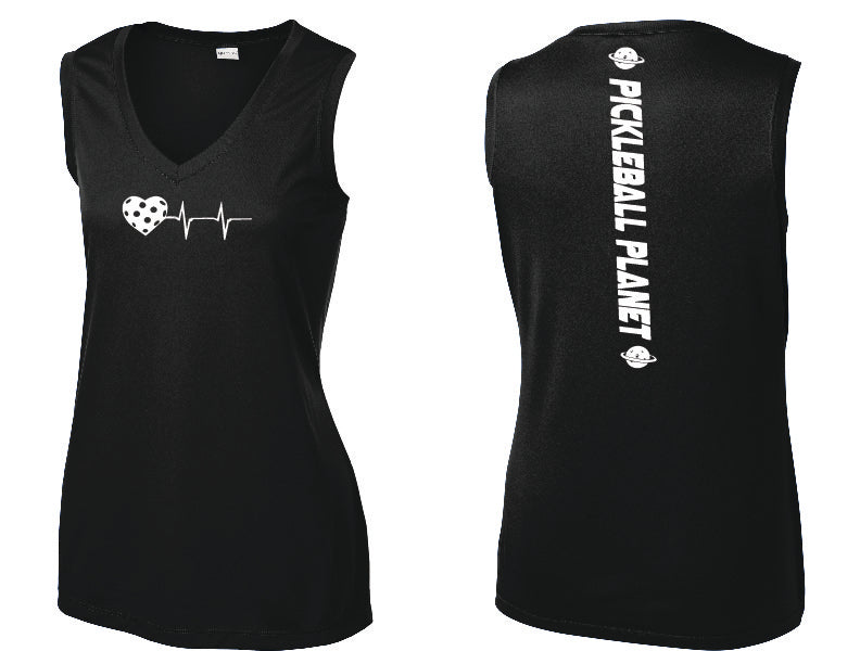 Ladies Sleeveless V Neck Tank Black Heartbeat