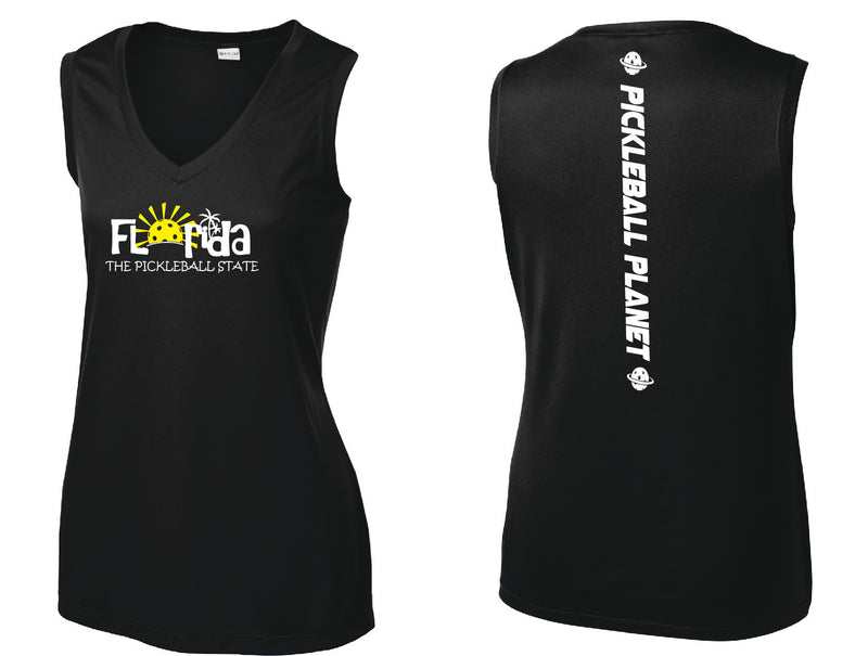 Ladies Sleeveless V Neck Tank Black Florida