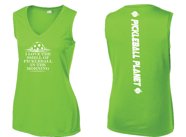 Ladies Sleeveless V Neck Tank Lime Shock Green I Love the Smell of Pickleball