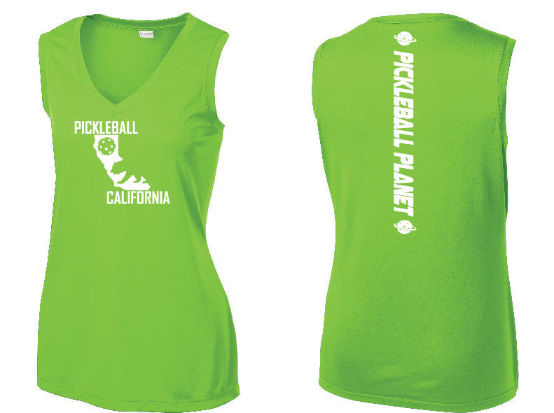 Ladies Sleeveless V-Neck Lime Shock Green California Bear