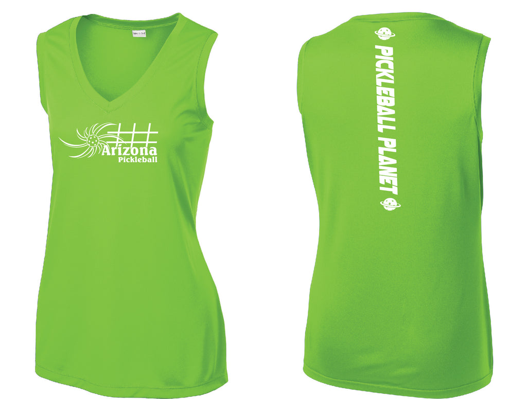 Ladies Sleeveless V Neck Lime Shock Green Arizona Sun