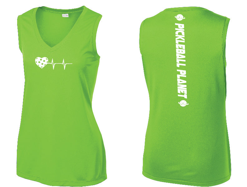 Ladies Sleeveless V Neck Tank Lime Shock Green Heartbeat