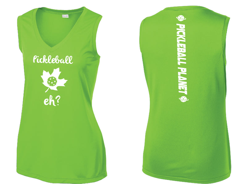 Ladies Sleeveless V Neck Tank Lime Shock Green Pickleball Eh