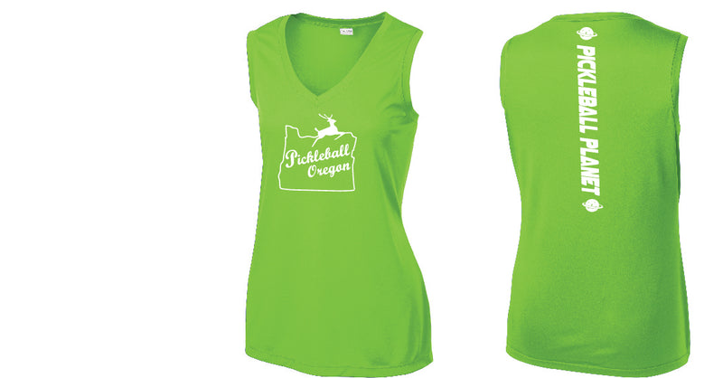 Ladies Sleeveless V Neck Tank Lime Shock Green Pickleball Oregon