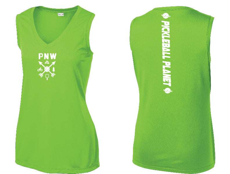 Ladies Sleeveless V Neck Tank Lime Shock Green PNW