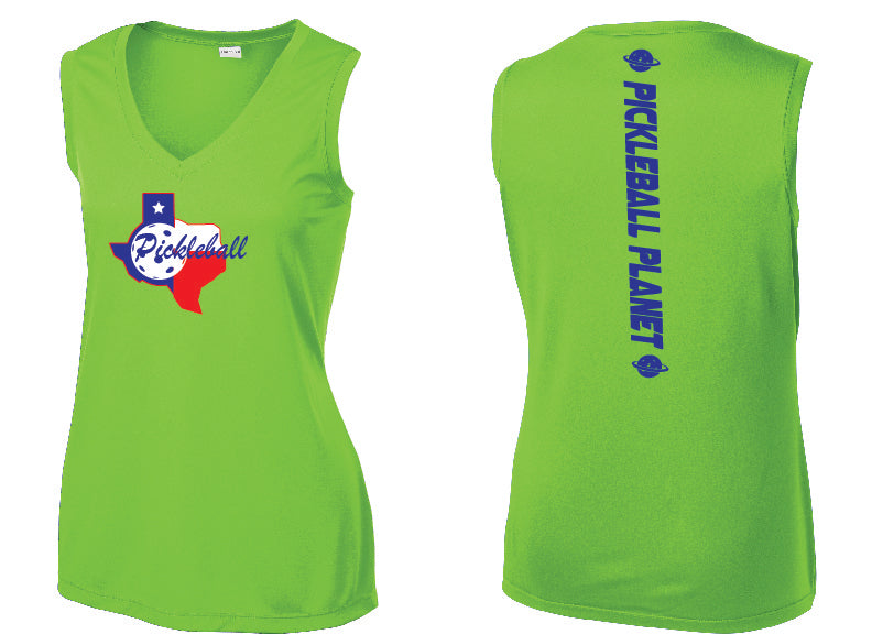 Ladies Sleeveless V Neck Tank Lime Shock Green Texas State