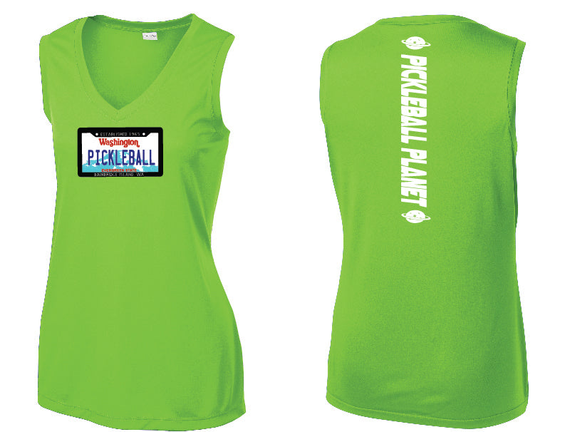 Ladies Sleeveless V Neck Tank Lime Shock Green Washington Plate