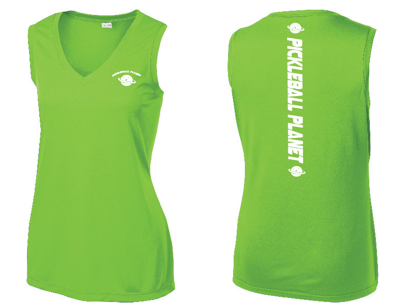 Ladies Sleeveless V Neck Tank Lime Shock Green Pickleball Planet